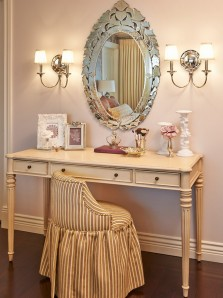 Antique Mirrored Small Dressing Table with Wall Lamps